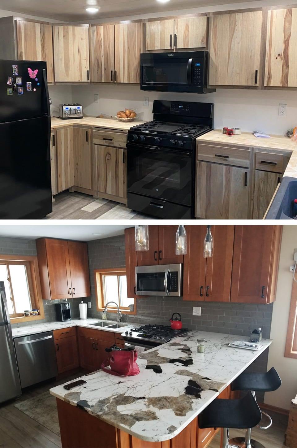 Remodeled Kitchen with custom cabinets in Keweenaw Peninsula Michigan